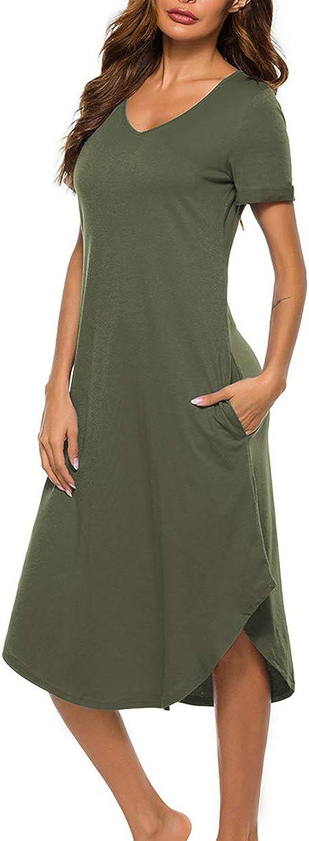 Drelaar Al sold out. Women's Short Sleeve Long Limited time trial price Loungewear Nig Dress Sleepwear