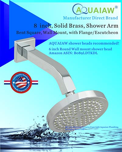 Aquaiaw Shower Arm and Flange, 8 inch, Square, Solid Brass, Polished Chrome Shower Arm Extension with Flange, Both 1/2-14 NPT Shower Head Extension Arm, Wall Mount. For Rain Shower Head Max. 12 inch