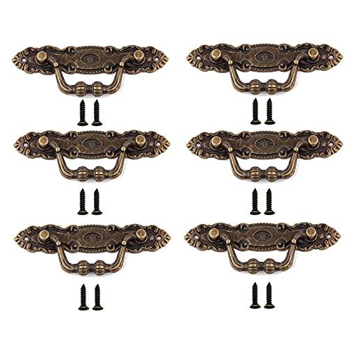 6 Piezas Tirador de Cajón Retro de Aleación, Viene con 12 Tornillos, Tirador de Cajón de Aleación de Zinc, Tirador de Armario, Para Armarios de Muebles, Armarios, Cómodas, Cajas de Madera