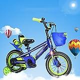 Bicicleta DWW niños montaña de pedal luminoso equitación al aire libre frenos de alta calidad cesta de configuración de diseño fresco niños (Tamaño : 14inch)