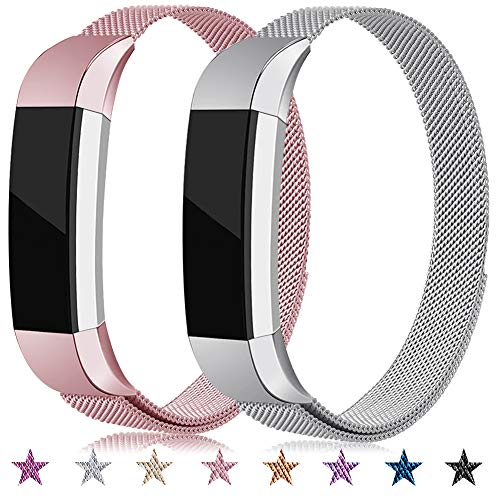Onedream Cinturino Compatibile per Fitbit Alta HR/Alta Cinturini in Matallo Braccialetto 2 Pack(nessun Tracker),S