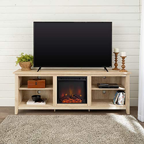"WE Furniture 70"" Wood Media TV Stand Console with Fireplace - White Oak"