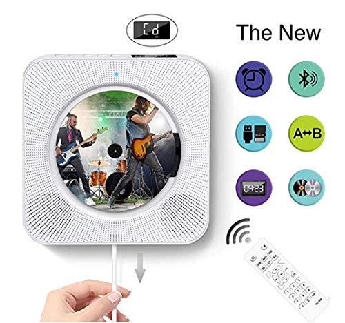 Thole Reproductor CD Bluetooth Lectores de CD Portátiles de Pared con Control Remoto Altavoz HiFi USB FM Entrada y Conector para Auriculares