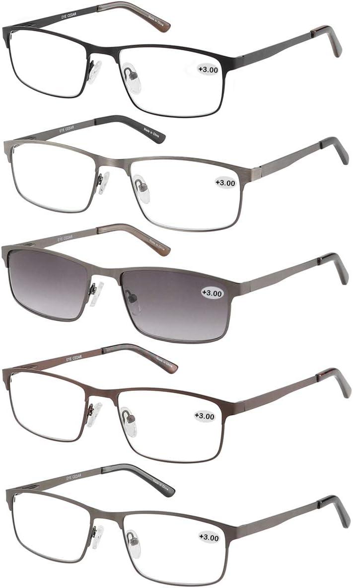 Eyecedar 5-Pack Virginia Beach Mall Reading Tucson Mall Glasses Men Metal Rectangle Style Frame