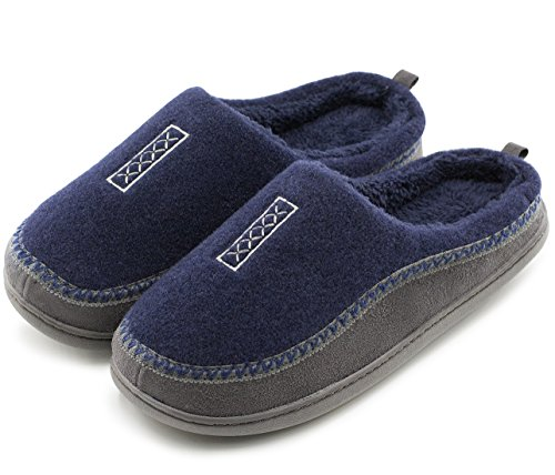 HomeTop Men's Indoor/Outdoor Wool Cross Decor Slip On Memory Foam Clog House Slippers (US Men's 11-12, Navy Blue)