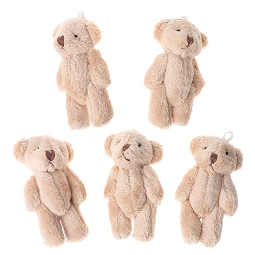 LANDUM Plüschtierspielzeug, 5 Pieces Kawaii Kleine Bären Plüsch Stofftiere Perle Samt Puppen Geschenke Mini Teddybär - Hellbraun