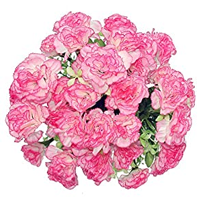 Buyineast Artificial Carnation Silk 18 Heads Faux Flowers Pack of 2
