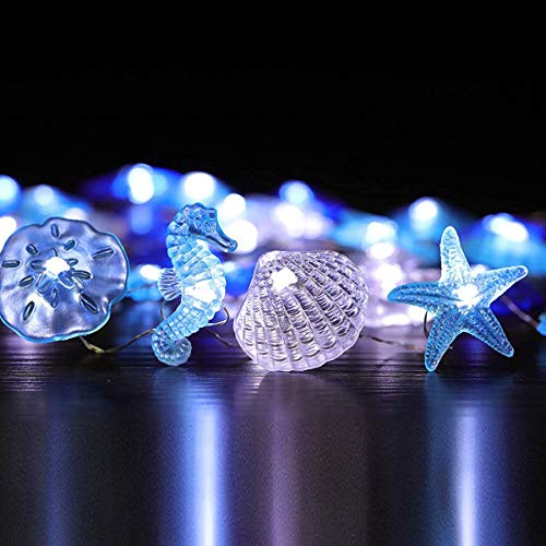 Holitown Nautical Theme Decorative String Lights, Under The Sea Sand Dollars Seahorse Beach Lights with Remote 10 ft 30 LEDs for Covered Outdoor