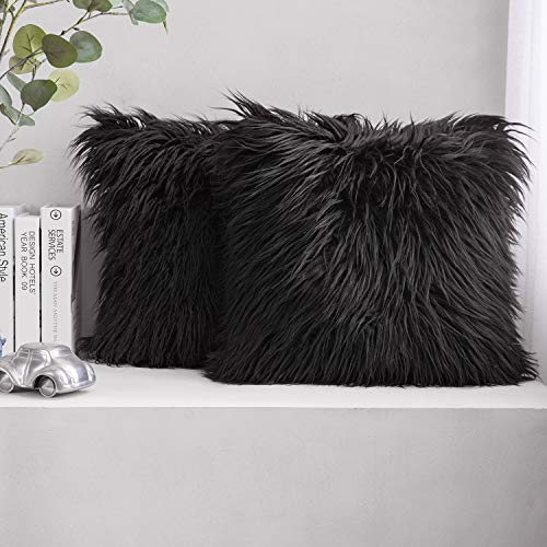 Phantoscope Pack of 2 Faux Fur Throw Pillow Covers Cushion Covers Luxury Soft Decorative Pillowcase Fuzzy Pillow Covers for Bed/Couch,Black 18 x 18 Inches