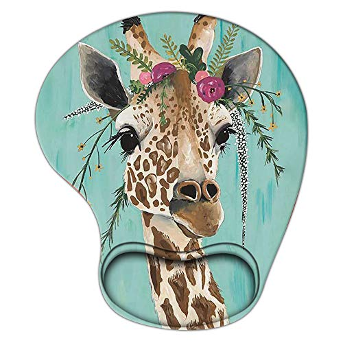 Gaming Mouse Pad with Wrist Support, Ergonomic Mousepad Non-Slip Soft Sensitive Material, Cute Mouse Pads for Wireless Mouse Giraffe Animal Anime as Home Office Desktop Accessories or Ideal Gift