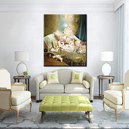 Angels Beauty Flower Fairies Abstrakte Ölgemälde Druck auf Leinwand Poster Wandbild Mädchen Zimmer Weihnachtsgeschenk 50x70CM