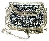 gauri Embrague étnico Niñas mujeres regalo bolsa de metal embrague de metal Bolsas hechas a mano vintage Bolsa de piedra de mosaico cadena de metal desmontable (Plata)