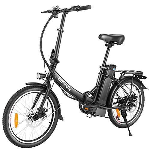 BIKFUN Vélo Électrique Pliable 20 Pouces avec 10Ah/360Wh Batterie au Lithium Amovible | 350W Velo Electrique de Ville pour Homme et Femme Adulte E-Bike avec Shimano 7 Vitesse Jusqu'à 32 km/h(Noir)