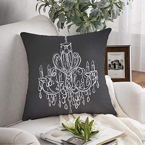 Throw Pillow Cover Pizarra Dibujos de tiza Lámpara de araña dibujada adornada de lujo Estilo plateado Diseño de pizarra Patrón de almohadas decorativas Funda para sofá Sofá Dormitorio Ropa de cama par