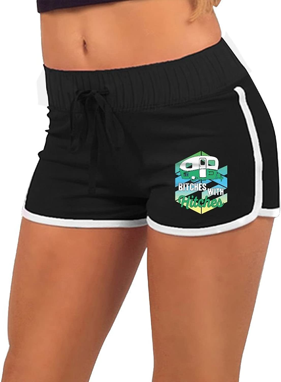 Bitches with Hitches Women's Sports Pants Running Short Gym Yoga Dolphin Shorts