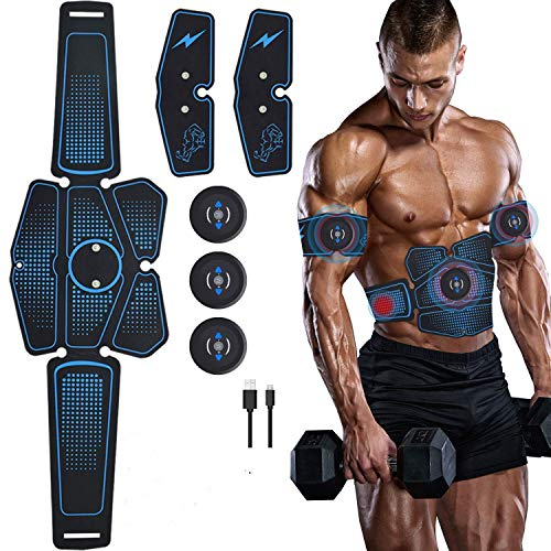 Elobaby 6 Pad Abs Stimulator - EMS Abs Toner Muskeltrainer, Bauch & Arm Gel-Pads für Home-Training, Widerstand TENS Trainingsmaschine für Männer und Frauen