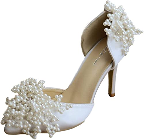 Qiusa Apliques de Damas con zapatos de Vestir de Novia de satén Perla Calidad Nupcial (Color   blanco-9cm Heel, tamaño   2 UK)