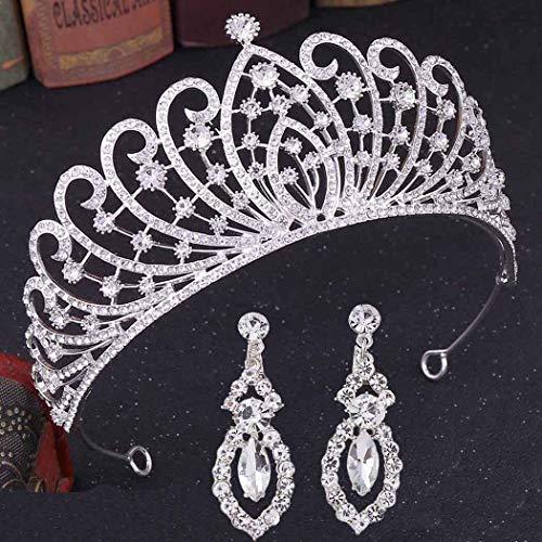 Brinote Couronne de mariage et diadème avec boucles d'oreilles de princesse en cristal - Accessoires de cheveux de mariage pour femmes et filles (argent)