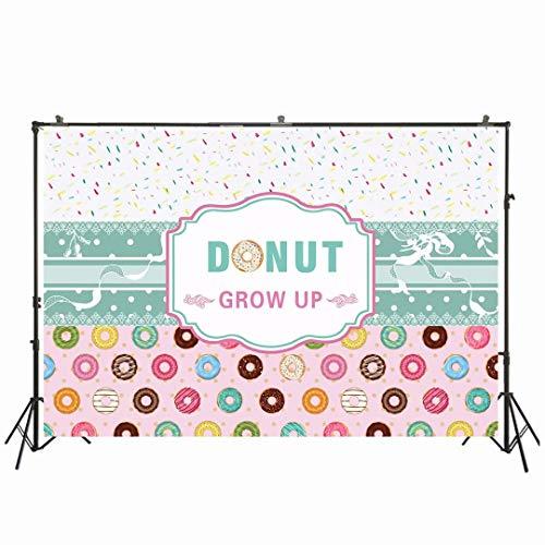 Foto de Nivius de 7 x 5 pies Donut Grow Up Backdrop Baby Shower Sweet Girl Fiesta de cumpleaños Fondo Doughnut Cake Banner Decoraciones Suministros Photo Studio Props W-2083