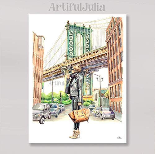 NYC Brooklyn Bridge fashion art print of watercolor painting, (NO FRAME, NO CANVAS), 5'x 7', 8'x 10', 9'x 12', 11'x 14' and 12'x 16'