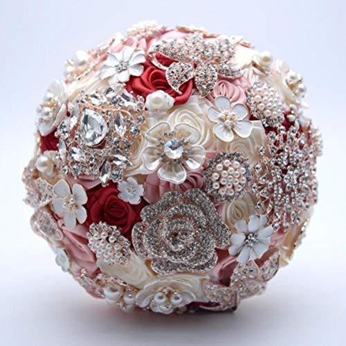 RANJN Silk Wedding Flowers Rhinestone Jewelry Blush Pink Brooch Bouquet Gold Broach Bridal Wedding Dress Wedding Bouquet,wine