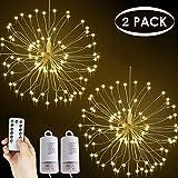 Lichterkette Feuerwerk, 120 LED Lichterketten Warmweiß Batteriebetrieben Fernbedienung DIY...