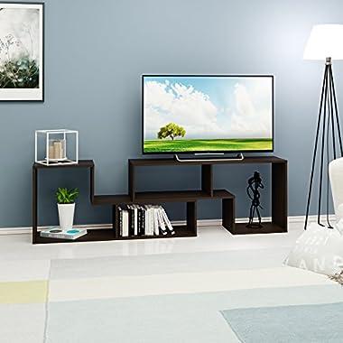 DEVAISE TV Stand / 2 Pieces Bookcase / Bookshelf (0.59  Thk, Oak)