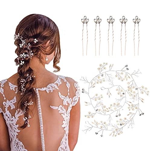 OBSCYON 100cm Diadema para el Pelo Tocado de Novia Adornos Accesorios con Pasadores para el pelo de novia, de cristal