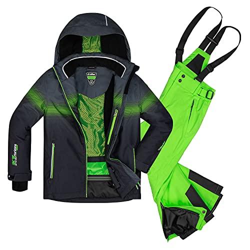 Killtec Jungen Skianzug Größe 164 aus Skijacke Glenshee Bys Schwarz und Skihose Gauror Jr NEON grün