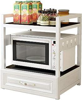 Rack de almacenamiento de cocina de 2 niveles Rack de horno de microondas con cajón de almacenamiento - Rack de almacenami...