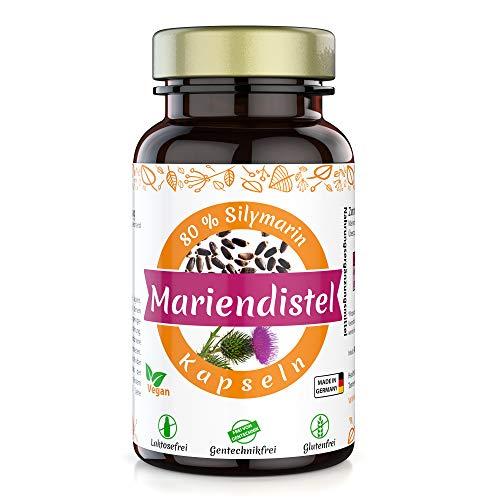 Healthland Mariendistel Kapseln hochdosiert vegan 500 mg | 90 Stück Mariendiestelkapseln hochdosiert mit Mariendistel Extrakt 500mg 80% Sylimarin hochdosiert | Milk Thistle Capsules