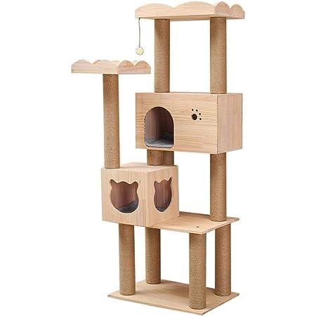 RAKU 猫タワー 木製キャットタワー 据え置き 大型猫 スタンダード式 麻紐 手首より太い支柱 猫キャットタワー 多頭飼い ねこ部屋付き 安定性 キャットランド 段差あり 組み立て簡単 日本語付き ペット用品 (木製タイプB)
