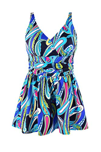 JINXUEER Plus Size Swimsuit Tummy Control Swimwear One Piece Floral Print Swimdress with Flared Skirt for Women (28, Blueblack)