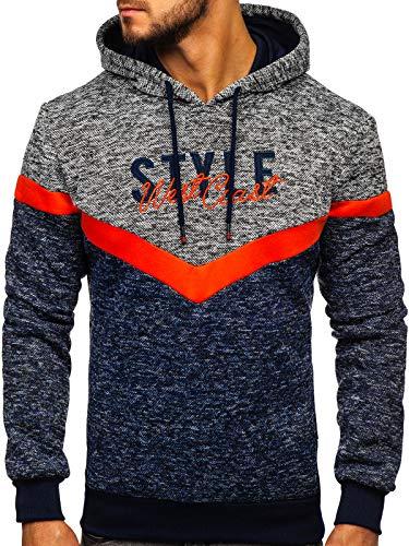 BOLF Herren Kapuzenpullover Sweatshirt Print Kapuze Hoodie Pullover Baumwollmischung Aufdruck Street Style J.Style KS1906 Dunkelblau M [1A1]