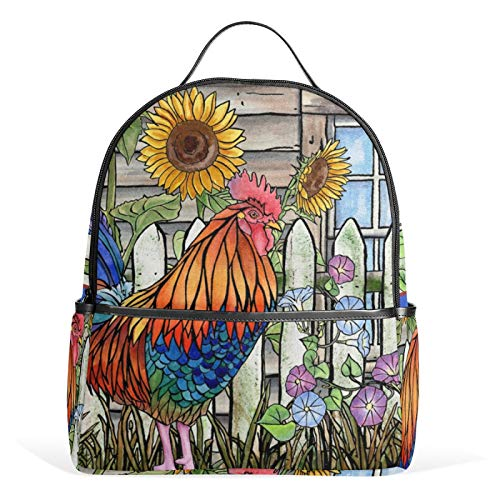 JinDoDo Rucksack Wasserfarben Hahn Sonnenblume Garten Schultasche Casual Rucksack Daypack für Mädchen Jungen...