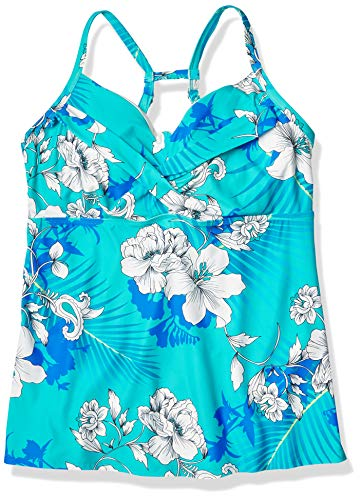 BEACH HOUSE Women's Standard Twist Bra Tankini Swimsuit top, Garden State Coastal Jade, 6