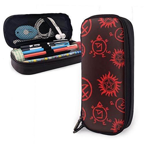 Yuanmeiju Custodia in pelle PU,Custodia con cerniera,Work Accessories,Art Utensils,Supernatural Symbol Red Portable Student Astuccio in pelle Stationery Bag Coin Purse Toiletry Bag Multi Purpose