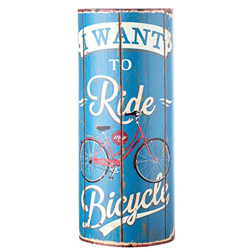 Rebecca Mobili Portaombrelli Porta Ombrelli Canvas Azzurro Tondo Ride My Bicycle Retro Ingresso Casa Ufficio - 54 x 23 x 23 cm (H x L x P) - Art. RE4759