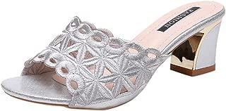 Londony💫 Women Rhinestones Sequins Mid Heels Stiletto Kitten Heels Wedding Pump Bridal Shoes Open Toe Slip-On Shoes Silver