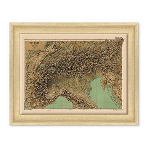 Afbeelding op canvas, ingelijst, met lijst - Italiaanse kaart - Italiaanse vlag - Touring Club Italië - fysieke noord-maandag - 30 x 40 cm, moderne stijl van natuurlijk hout - (Art.202)
