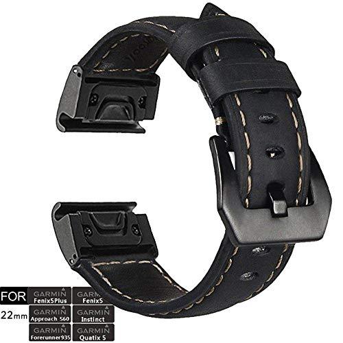 Correa de Reloj, YOOSIDE Fenix 5 22 mm de Acero Inoxidable de Ajuste rápido con Correa de Cuero Genuino para Garmin Fenix 5/Fenix 5 Plus/Forerunner 935/Instinct/Quatix 5 (Negro)