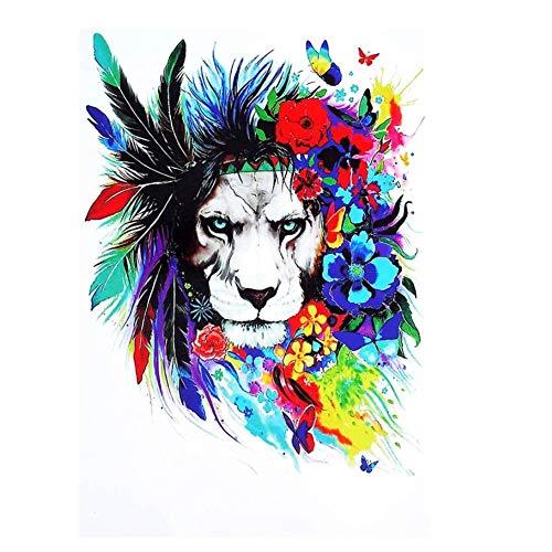 Justfox – Tatuaje temporal, diseño de león con plumas, multicolor