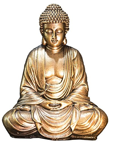 Zen'Light Statue Bouddha Or, Résine, 16 x 10 x 20 cm
