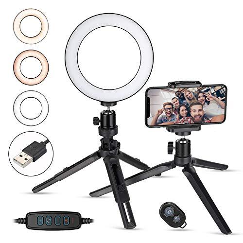 La luz del Anillo de la LED de con el Soporte del trípode y el Soporte del teléfono, 3 Modos de luz y 10 Niveles de Brillo Anillo LED LED para Selfie, móvil, transmisión en Vivo y Maquillaje.