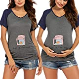 Ekouaer Womens Maternity Tops Bun in The Oven T Shirt Funny Pregnancy Announcement New Baby Tee Grey Navy Blue XL