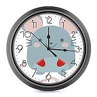 手袋をはめたマウス ウォールクロック 壁掛け時計 アナログ クロック インテリア 円形 サイレント ノベルティ 印刷 掛置兼用 連続秒針 家 寝室 居間 食堂 浴室 台所用 直径25cm 部屋装飾