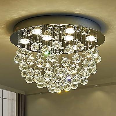 Saint Mossi Modern K9 Crystal Chandelier Lighting Flush Mount LED Ceiling Light Fixture Pendant Chandelier for Livingroom 9 GU10 Bulbs Required Width 20 inch x Height 13 inch