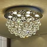 Saint Mossi 9-Lights Modern Chandelier K9 Crystal Chandelier Light Fixture,Modern Flush Mount Ceiling Light Fixtures Raindrop Chandelier for Bedroom,Dining Room,Living Room,H13