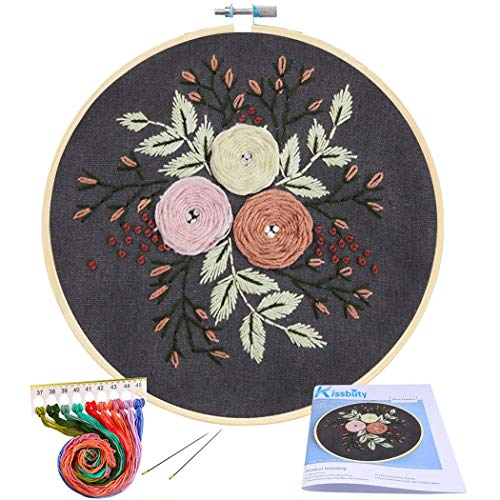 Full Range of Embroidery Starter Kit with Pattern, Kissbuty Cross Stitch Kit Including Embroidery Cloth with Floral Pattern, Bamboo Embroidery Hoop, Color Threads and Tools Kit (Black Roses Pattern)