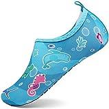 KUBUA Niños Niñas Zapatos de Agua Calcetines Zapatillas de Deporte Descalzos Aire Libre Snorkel Bucear Surf Mar Deportes Acuáticos Escarpines Piscina Playa Yoga Secado Rápido 18/19 EU